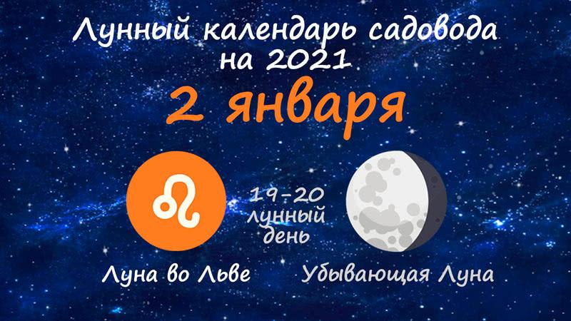 Лунный календарь садовода-огородника на 2 января 2021 года