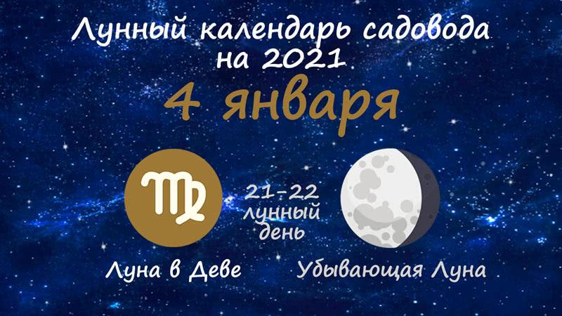 Лунный календарь садовода-огородника на 4 января 2021 года