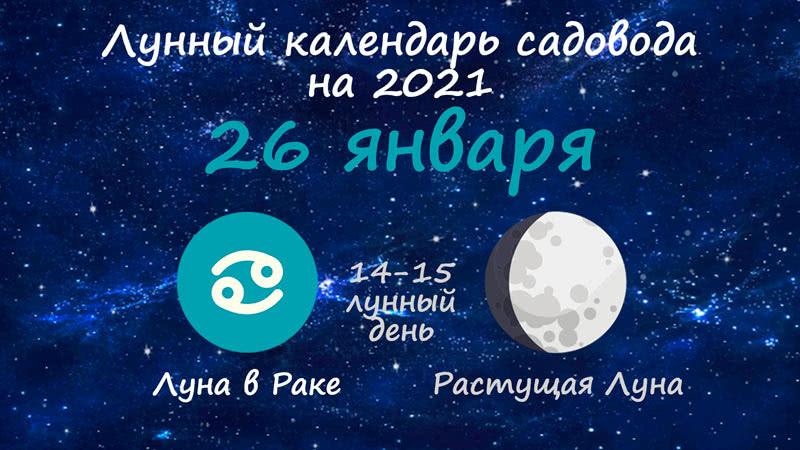 Лунный календарь садовода-огородника на 26 января 2021 года