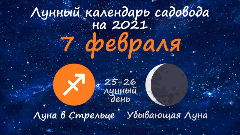 Лунный календарь садовода-огородника на 7 февраля 2021 года