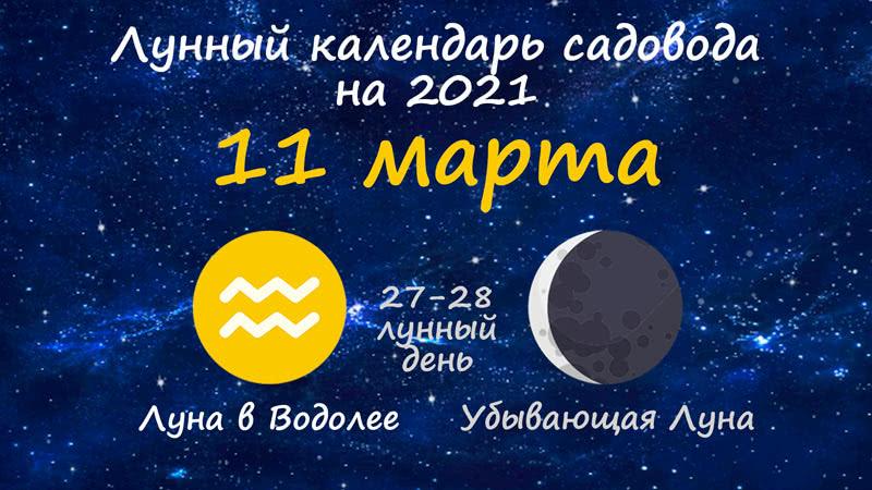 Лунный календарь садовода-огородника на 11 марта 2021 года