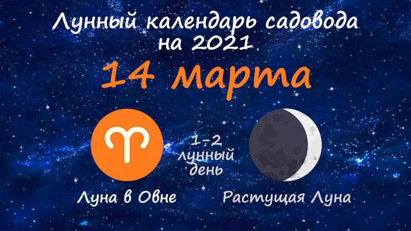 Лунный календарь садовода-огородника на 14 марта 2021 года