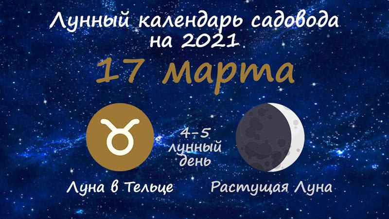Лунный календарь садовода-огородника на 17 марта 2021 года