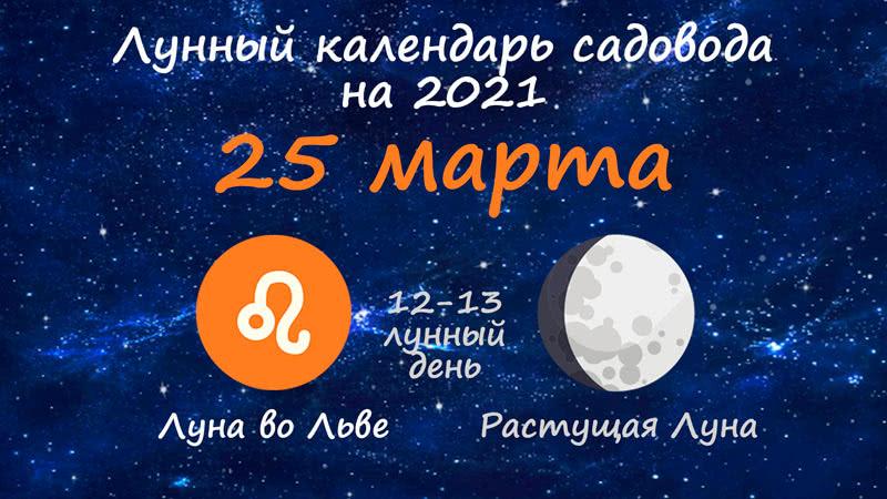 Лунный календарь садовода-огородника на 25 марта 2021 года