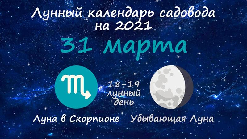 Лунный календарь садовода-огородника на 31 марта 2021 года