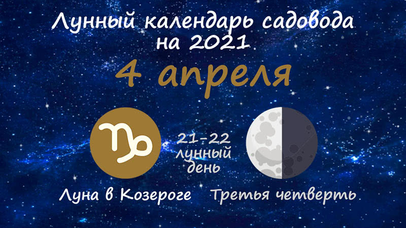 Лунный календарь садовода-огородника на 4 апреля 2021 года