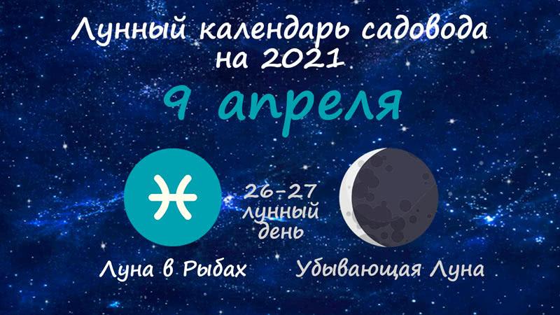 Лунный календарь садовода-огородника на 9 апреля 2021 года