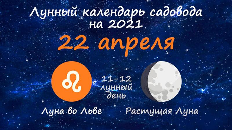 Лунный календарь садовода-огородника на 22 апреля 2021 года