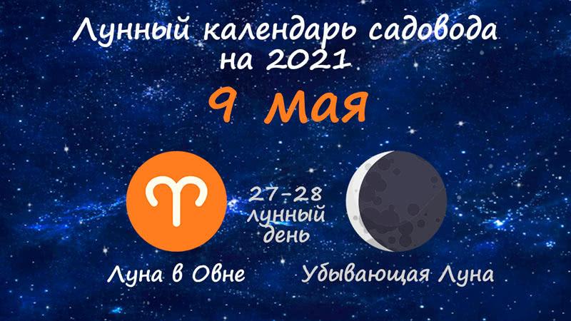 Лунный календарь садовода-огородника на 9 мая 2021 года