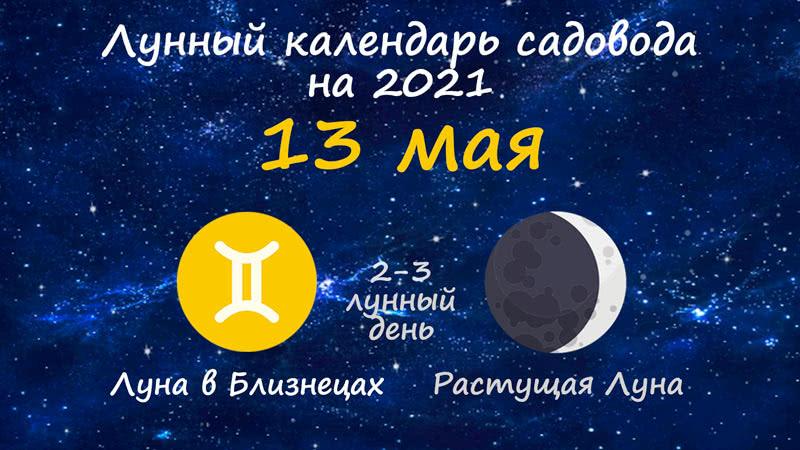 Лунный календарь садовода-огородника на 13 мая 2021 года