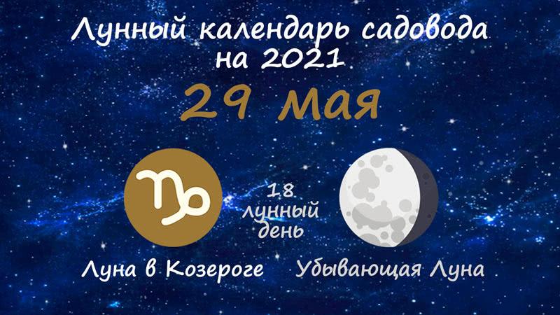 Лунный календарь садовода-огородника на 29 мая 2021 года