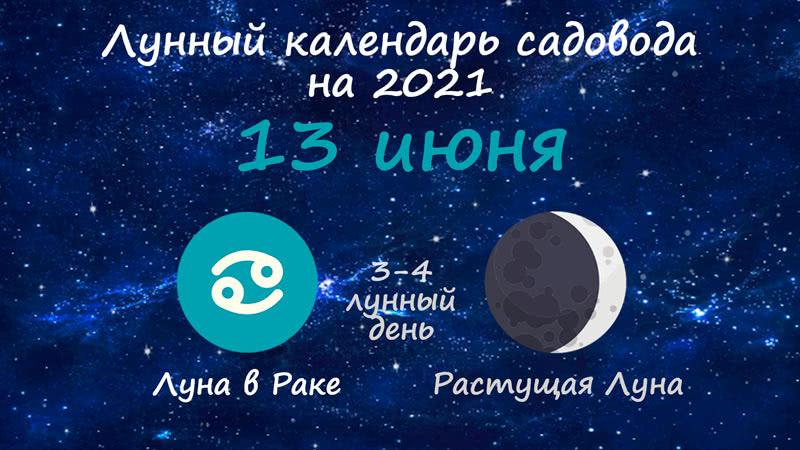 Лунный календарь садовода-огородника на 13 июня 2021 года