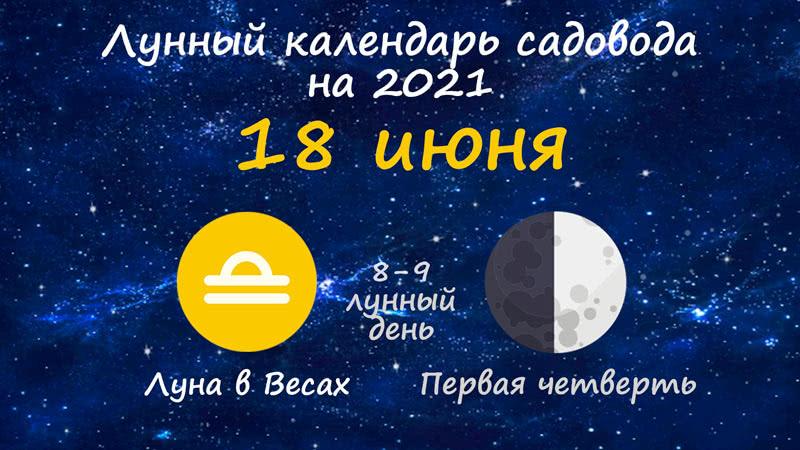 Лунный календарь садовода-огородника на 18 июня 2021 года