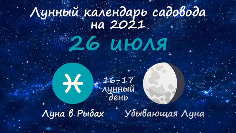 Лунный календарь садовода-огородника на 26 июля 2021 года