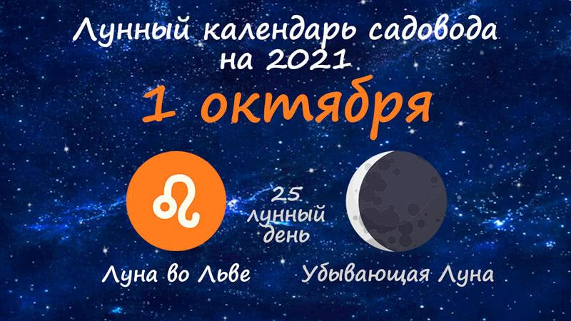 Лунный календарь садовода-огородника на 1 октября 2021 года