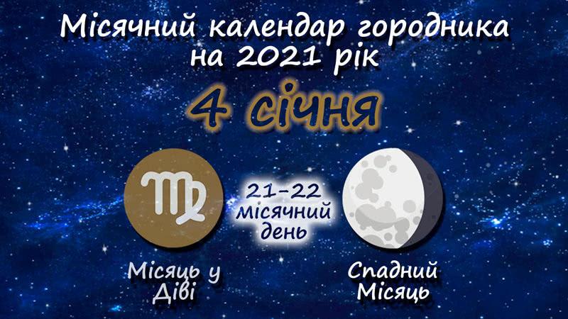 Місячний календар садівника-городника на 4 січня 2021 року