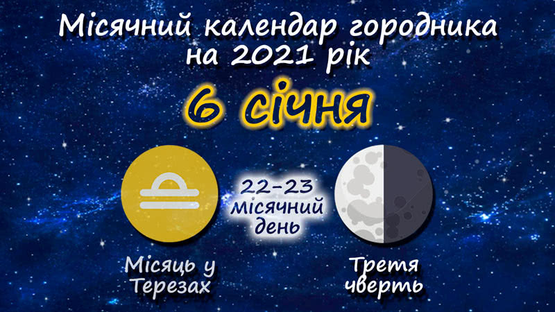 Місячний календар садівника-городника на 6 січня 2021 року