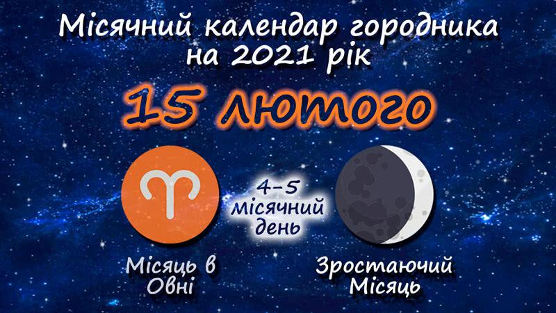 Місячний календар садівника-городника на 15 лютого 2021 року