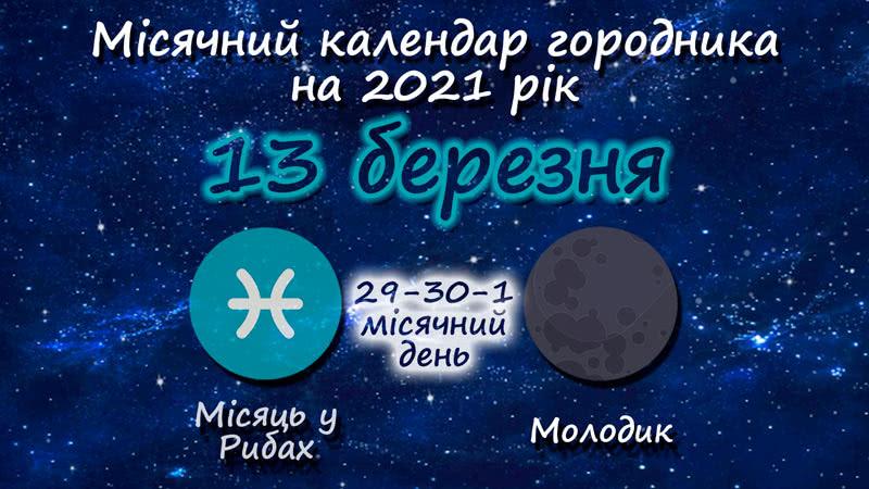 Місячний календар садівника-городника на 13 березня 2021 року
