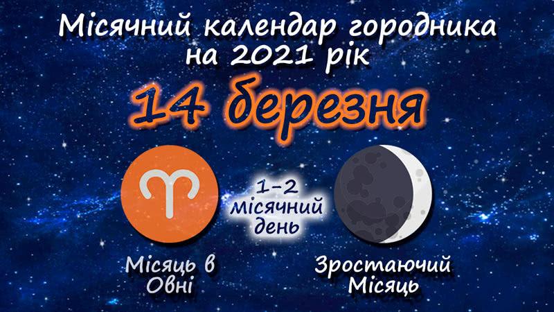 Місячний календар садівника-городника на 14 березня 2021 року