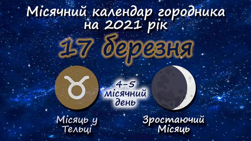 Місячний календар садівника-городника на 17 березня 2021 року