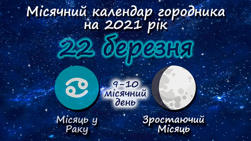 Місячний календар садівника-городника на 22 березня 2021 року
