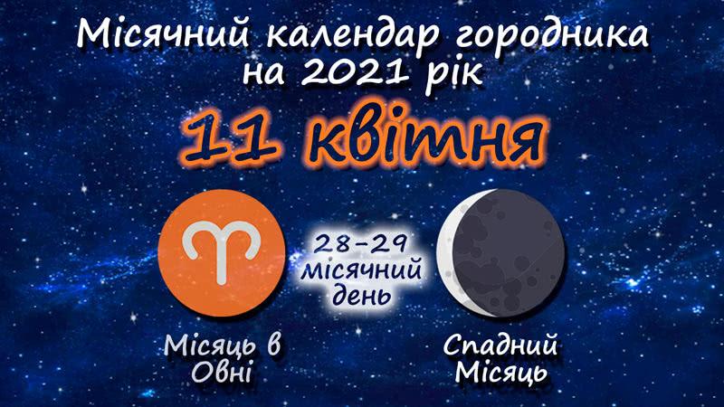 Місячний календар садівника-городника на 11 квітня 2021 року