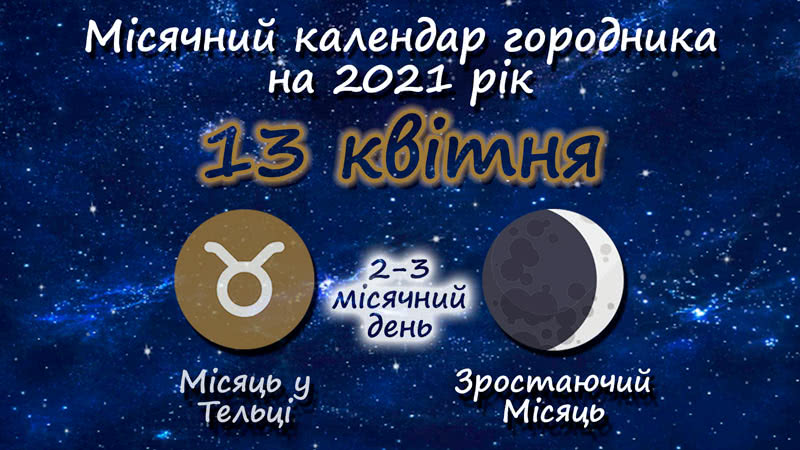 Місячний календар садівника-городника на 13 квітня 2021 року