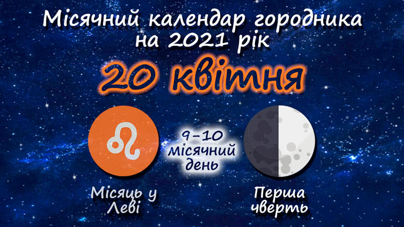 Місячний календар садівника-городника на 20 квітня 2021 року