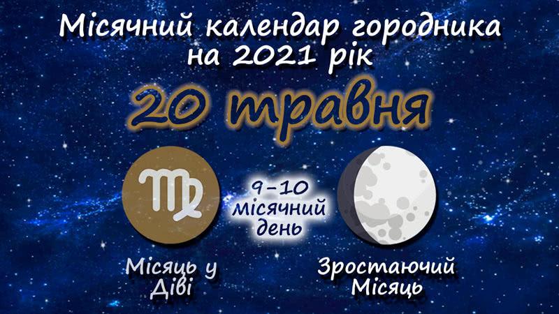 Місячний календар садівника-городника на 20 травня 2021 року