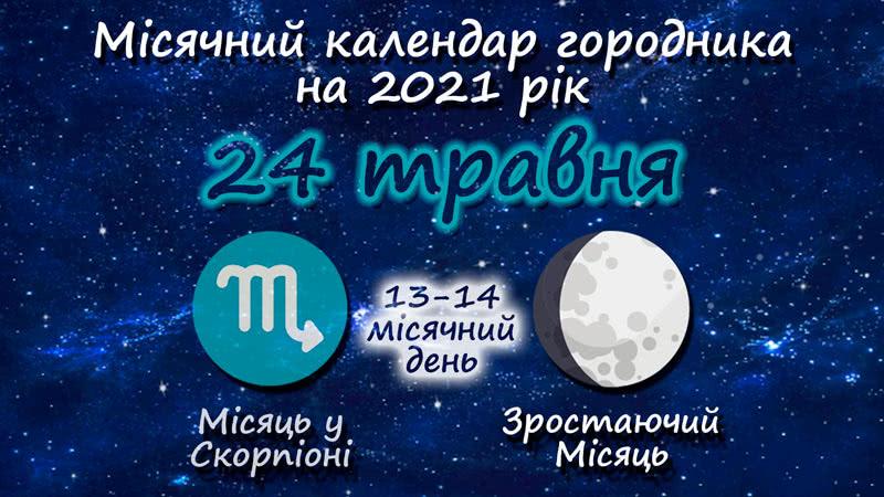Місячний календар садівника-городника на 24 травня 2021 року