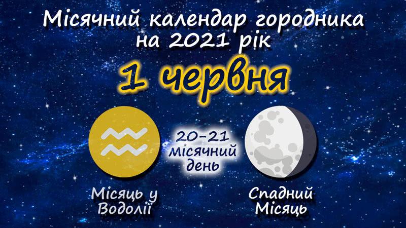 Місячний календар садівника-городника на 1 червня 2021 року