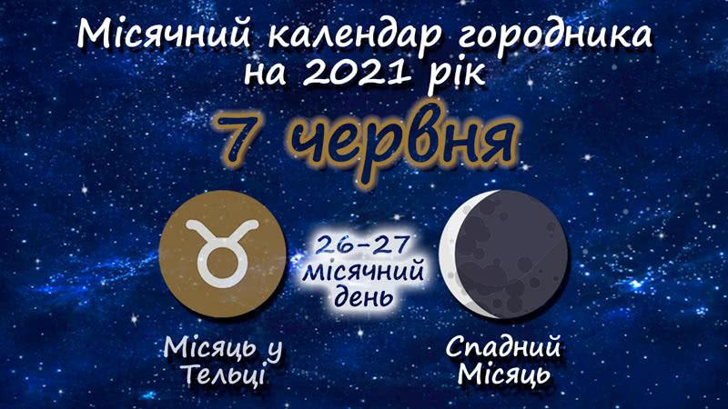 Місячний календар садівника-городника на 7 червня 2021 року