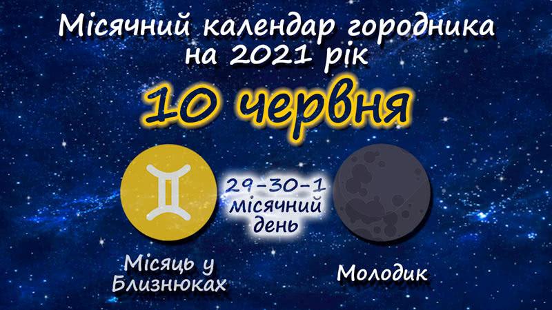 Місячний календар садівника-городника на 10 червня 2021 року