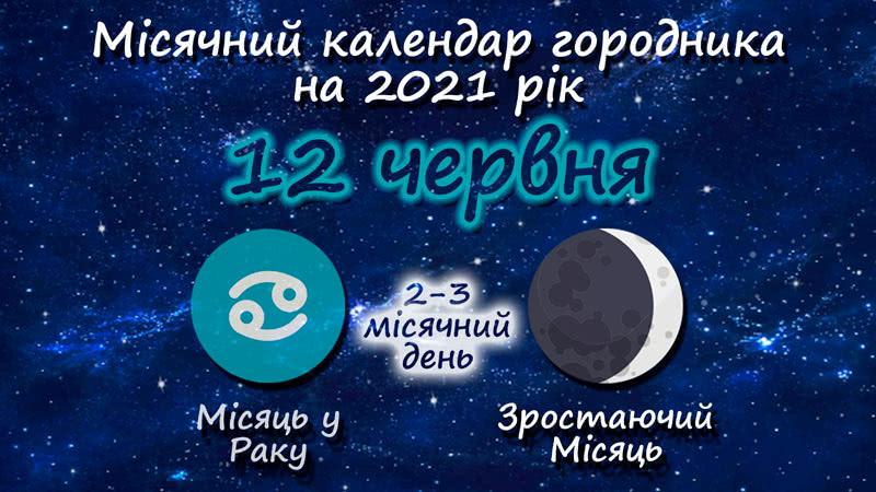 Місячний календар садівника-городника на 12 червня 2021 року