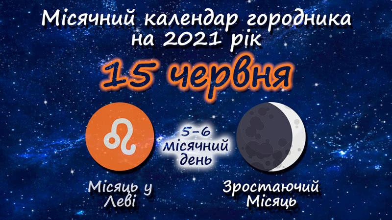 Місячний календар садівника-городника на 15 червня 2021 року