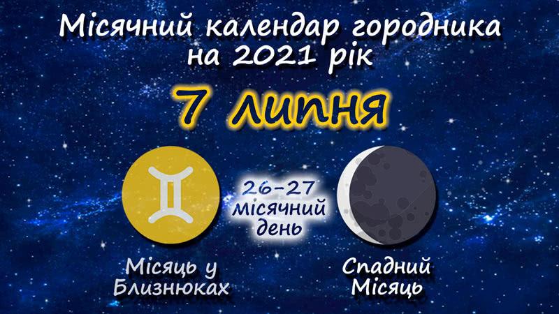 Місячний календар садівника-городника на 7 липня 2021 року