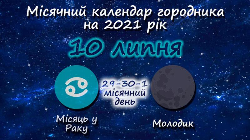 Місячний календар садівника-городника на 10 липня 2021 року