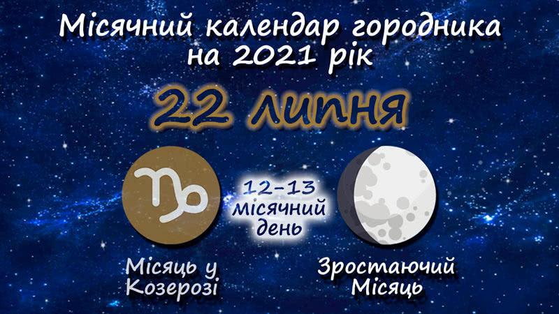 Місячний календар садівника-городника на 22 липня 2021 року